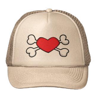 red heart Skull and Crossbones Trucker Hat
