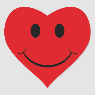 Red Heart Smiley Face Stickers