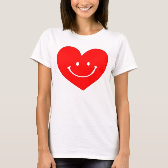 Red Heart Smiley Face T-Shirt