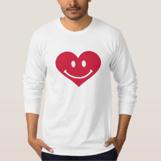 Red heart smiley happy tee shirt
