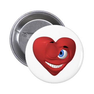 Red heart smiley winking at you button