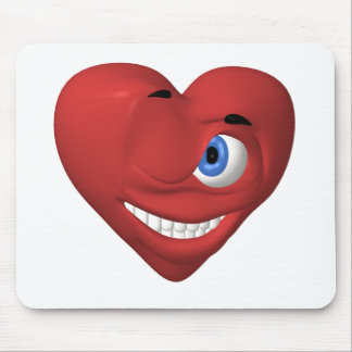 Red heart smiley winking at you mouse pad