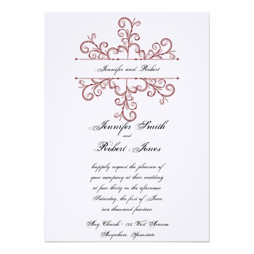 Red Heart Snowflake Wedding Invitation