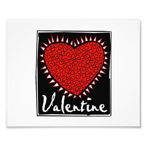 red heart squiggles valentine photo print