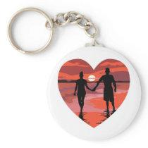 Red Heart Sunset Beach Holding Hands Keychain