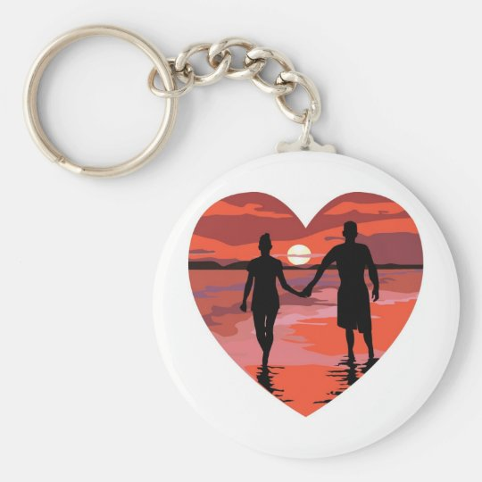 Red Heart Sunset Beach Holding Hands Keychain
