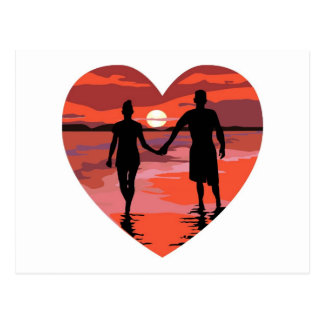 Red Heart Sunset Beach Holding Hands Postcard