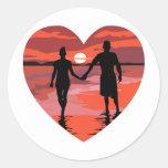 Red Heart Sunset Beach Holding Hands Stickers