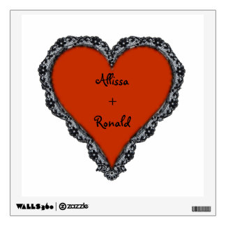 Red Heart Surrounded by Black Lace w/ couples text Wall Decal