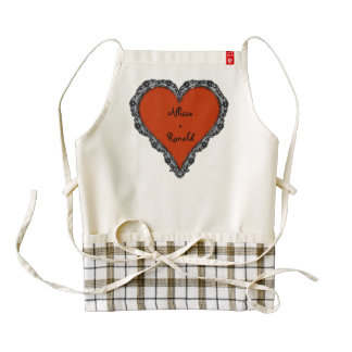 Red Heart Surrounded by Black Lace w/ couples text Zazzle HEART Apron