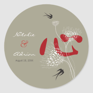 Red Heart Swallows Ai Love Chinese Wedding Sticker