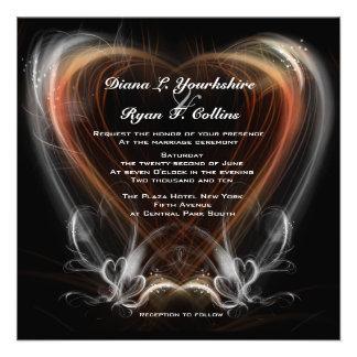 Red Heart Swirl Invitation