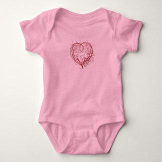Red Heart Swirl on Pink Baby Bodysuit