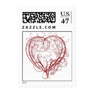 Red Heart Swirl Wedding Postage