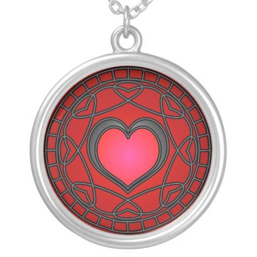 Red Heart & Swirls Necklace