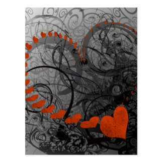 Red Heart Swirls Postcard