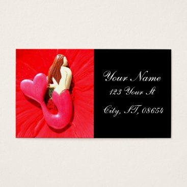 Beach Themed red heart-tailed mermaid business card