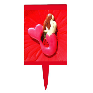 red heart-tailed mermaid cake topper