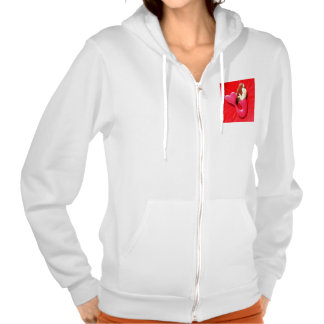 red heart-tailed mermaid hooded pullover