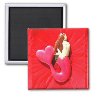 red heart-tailed mermaid magnet