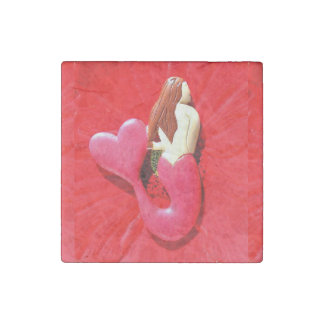 red heart-tailed mermaid stone magnet
