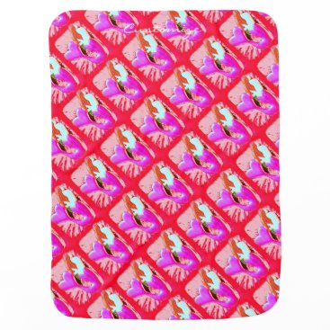 Beach Themed red heart-tailed mermaid Thunder_Cove Baby Blanket