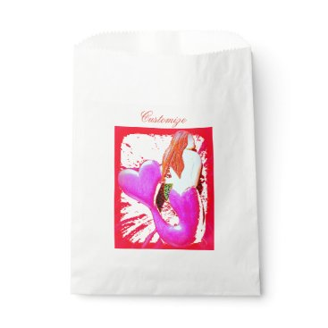Beach Themed red heart-tailed mermaid Thunder_Cove Favor Bag