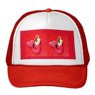 red heart-tailed mermaids trucker hat