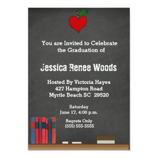 Red Heart Teacher Graduation Invitation
