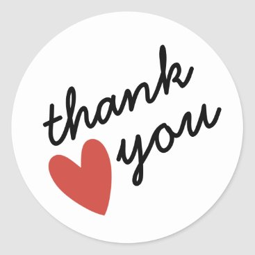 Valentines Themed Red Heart Thank You Classic Round Sticker