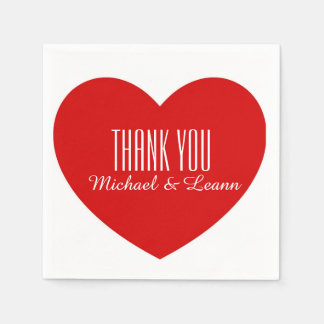 Red Heart Thank You Wedding Paper Napkins