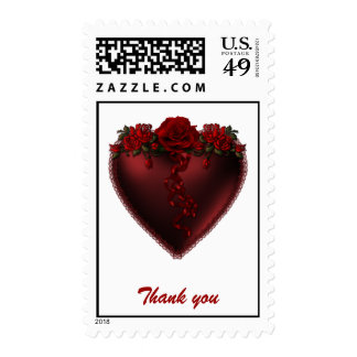 Red Heart Thank You with Roses Postage