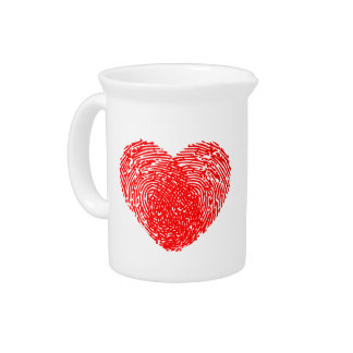 Red Heart Thumbprint Graphic Drink Pitcher