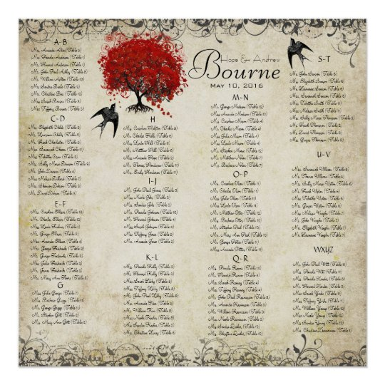 Red Heart Tree- 100 to 150 guests - alphabetical Poster