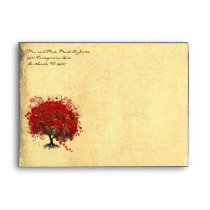 Red Heart Tree Envelopes