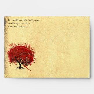 Red Heart Tree Envelopes