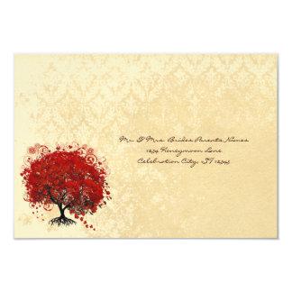 Red Heart Tree Fall Leaves Wedding Invitation