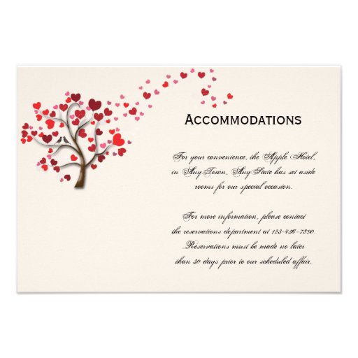 Red Heart Tree on Ivory Accomodations Invitations