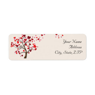 Red Heart Tree on Ivory Return Address Return Address Labels