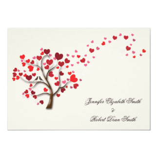 Red Heart Tree on Ivory Wedding 5x7 Paper Invitation Card
