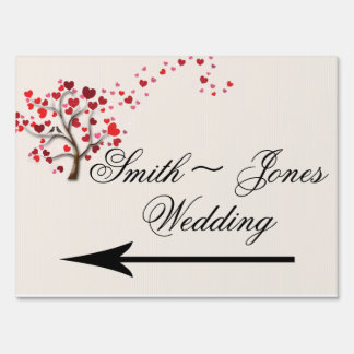 Red Heart Tree on Ivory Wedding Direction Sign