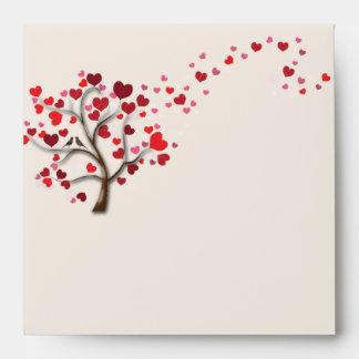 Red Heart Tree on Ivory Wedding Envelope