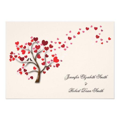 Red Heart Tree on Ivory Wedding Invitation