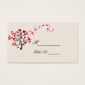 Red Heart Tree on Ivory Wedding Place Card
