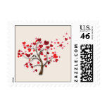 Red Heart Tree on Ivory Wedding Postage