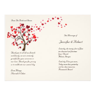 Red Heart Tree on Ivory Wedding Program