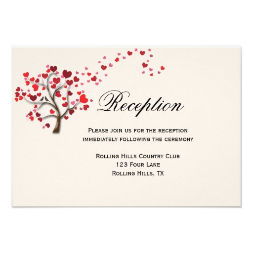 Red Heart Tree on Ivory Wedding Reception Card