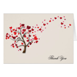 Red Heart Tree on Ivory Wedding Thank You Greeting Cards