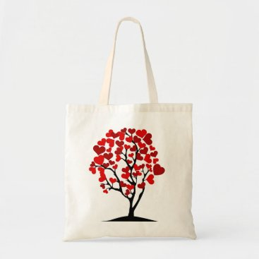 Valentines Themed Red Heart Tree Tote Bag