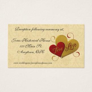 Red Heart True Love Wedding Enclosure Cards